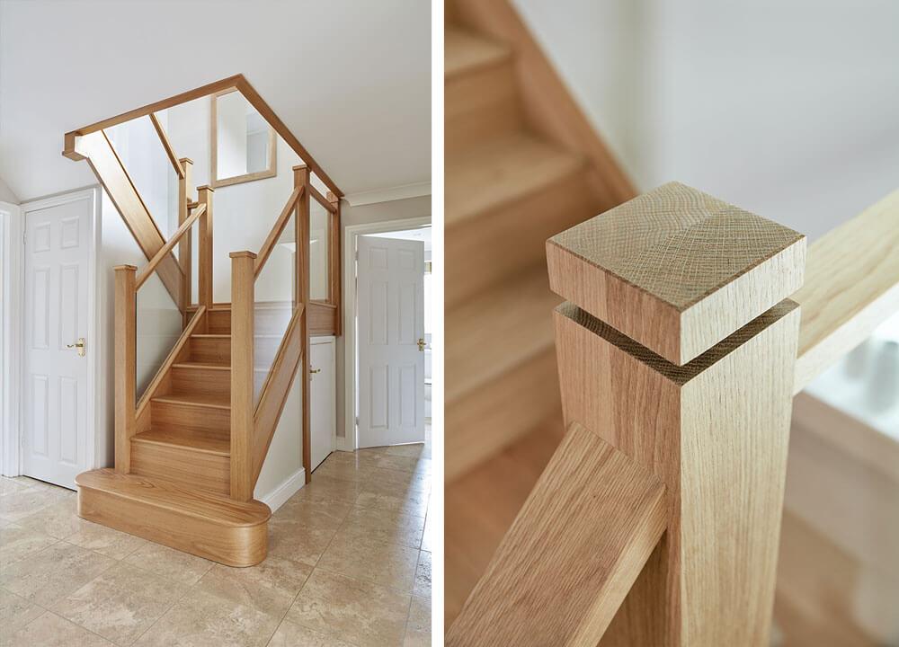 Gerrards Cross Inline Glass Oak Staircase