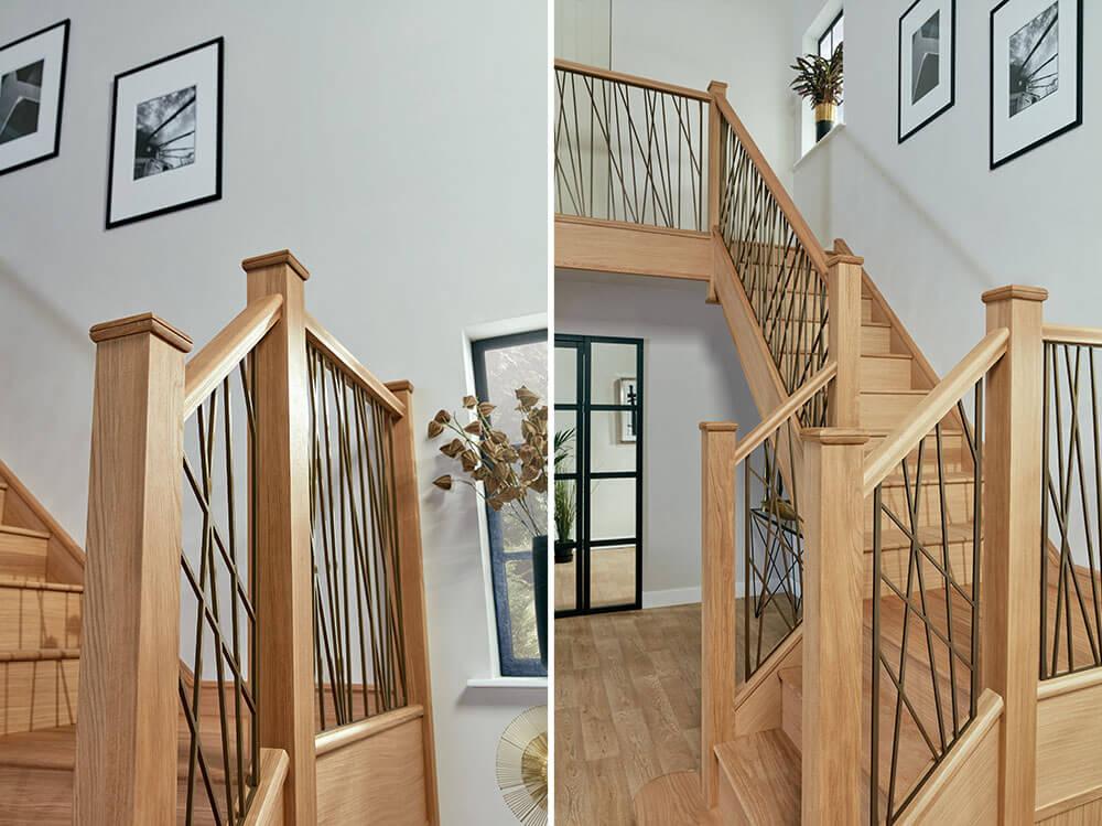 hallway brass staircase