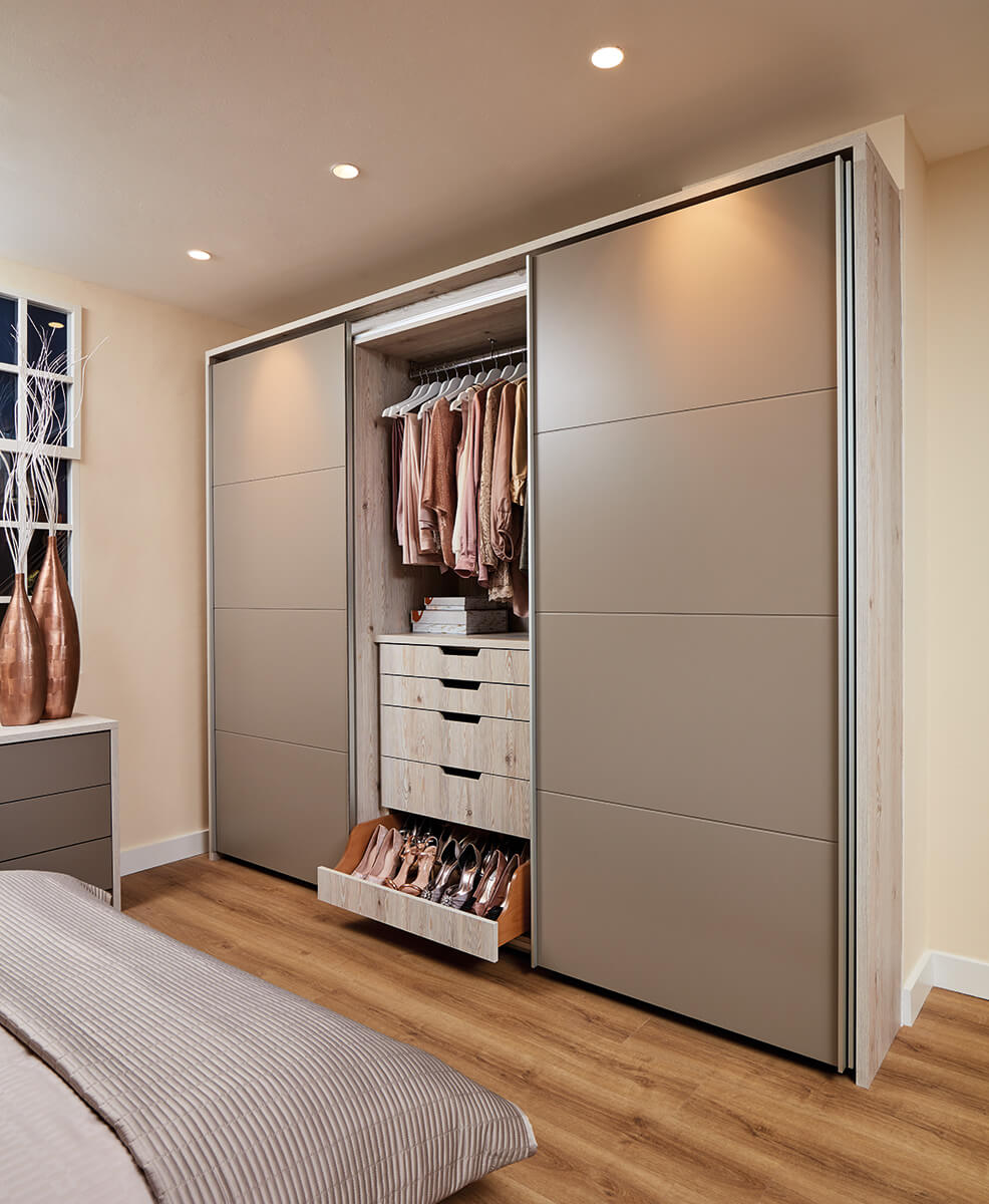 Fitted Wardrobes finished in White Larch