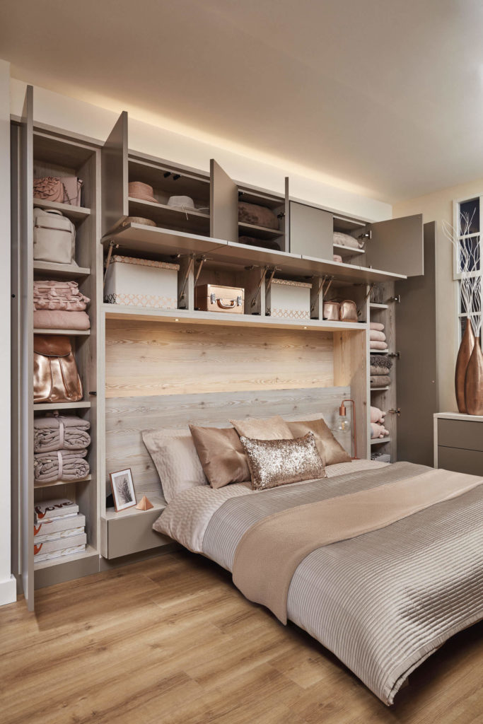 Charming This Stunning Contemporary Grey Bedroom Features Headboard Lighting And  Overhead Storage.