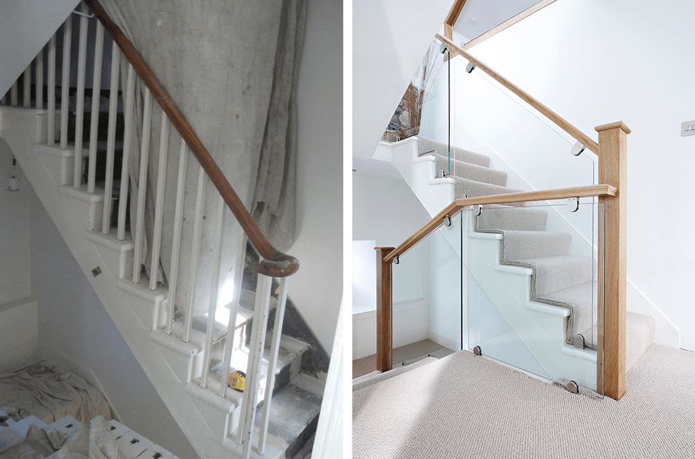 cut-string glass and oak staircase