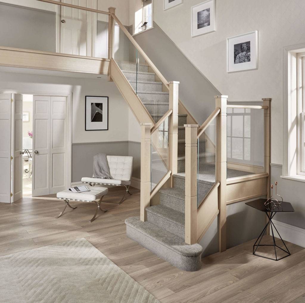 This Modern Glass And Oak Staircase Complements A Light, Airy Hallway,  Creating A Beautiful Focal Point At The Heart Of The Home.