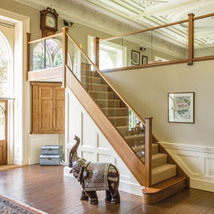 Dark Oak In Line Glass Staircase Neville Johnson