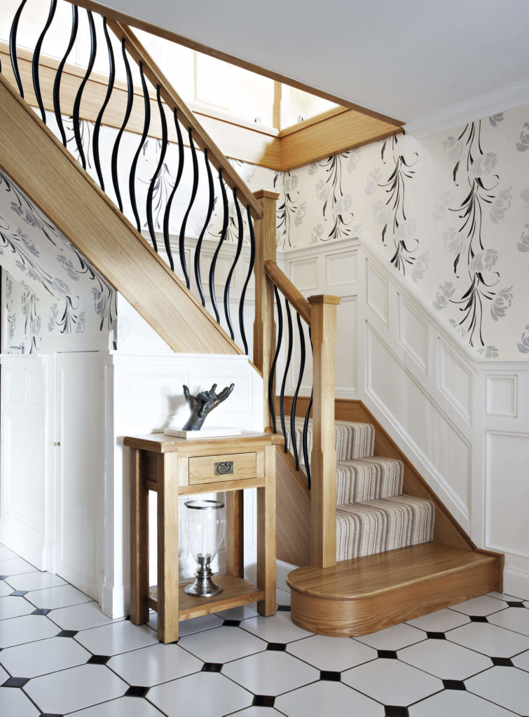 This Decorative Steel Staircase Combines Our Stunning Barcelona Spindles  With Natural Oak And Glass Panelling.
