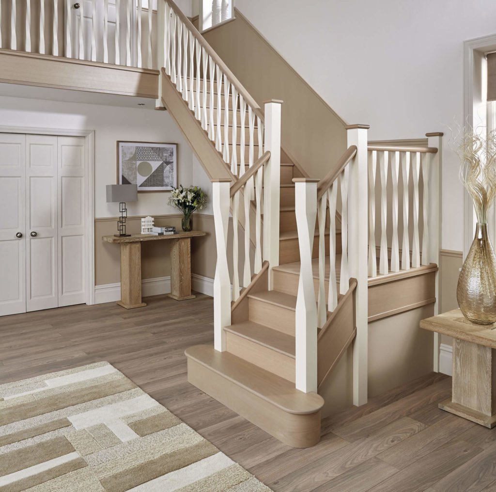 This Stunning Staircase Blends Our Bardolino Oak Finish With Velvety Smooth  Hollyhock Paint For An Elegant, Contemporary Design.