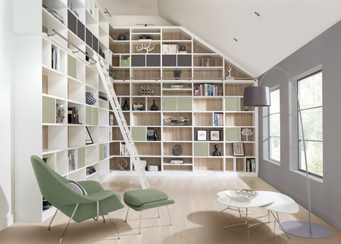 Rolling Library Ladder Contemporary Libraries Neville