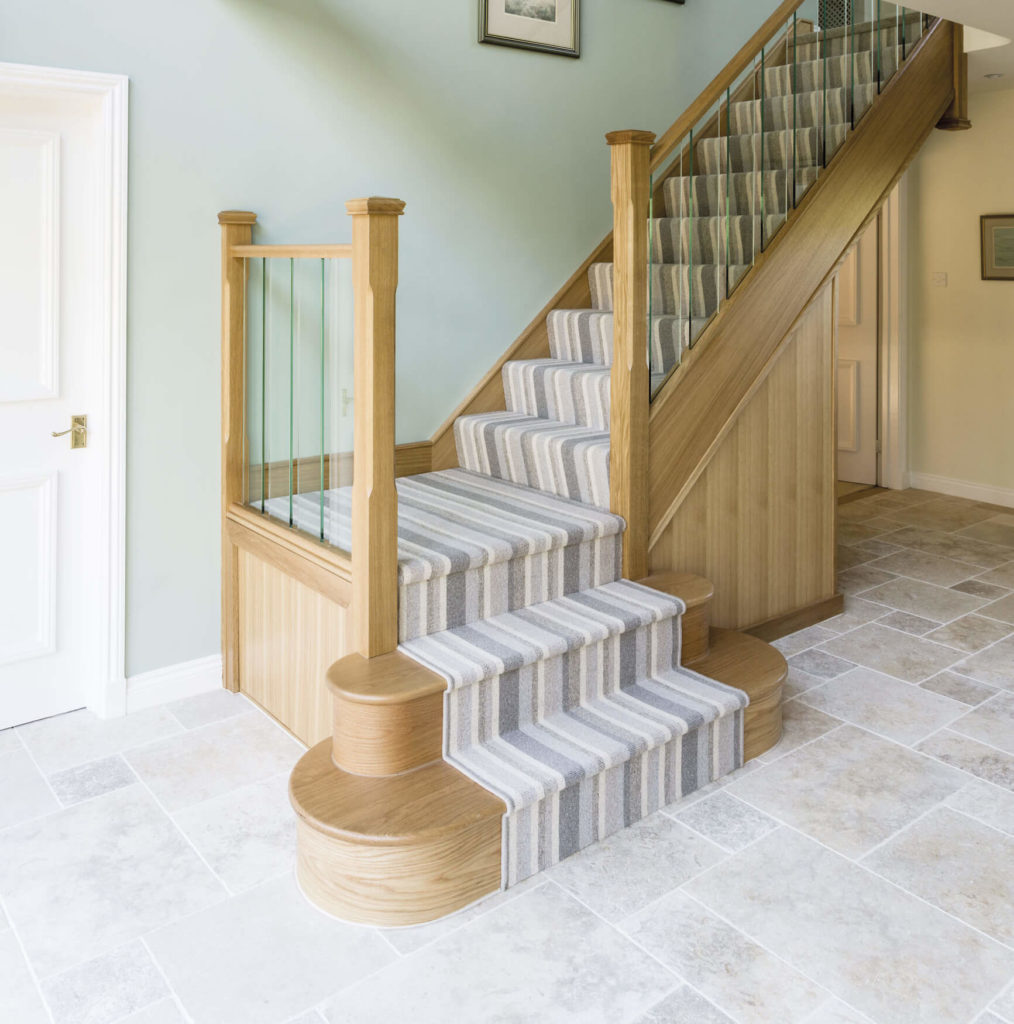 The Bespoke Glass Spindles On This Oak Staircase Are Fixed Directly Into  The Base For Strong, Clean Lines And A Modern Look.